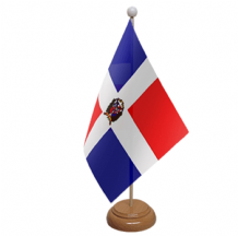 DOMINICAN REPUBLIC - TABLE FLAG WITH WOODEN BASE